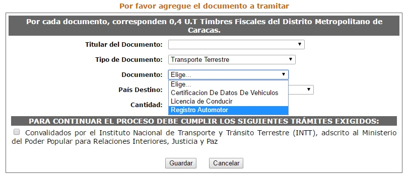 Documentos de vehículo que se deben apostillar