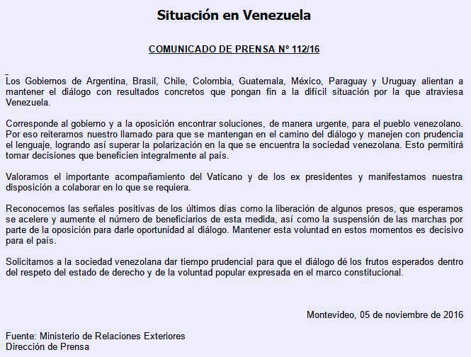 Apoyo de Uruguay a Venezuela en medio de la crisis política