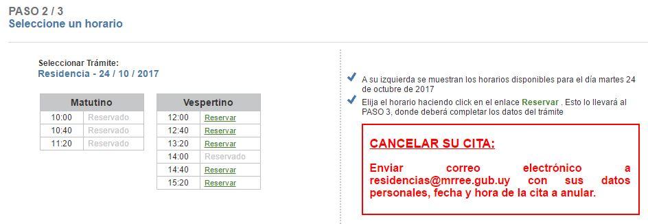 Sistema de agenda electrónica uruguay reserva de horario