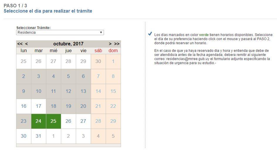 Sistema de agenda electrónica Uruguay selección de fecha