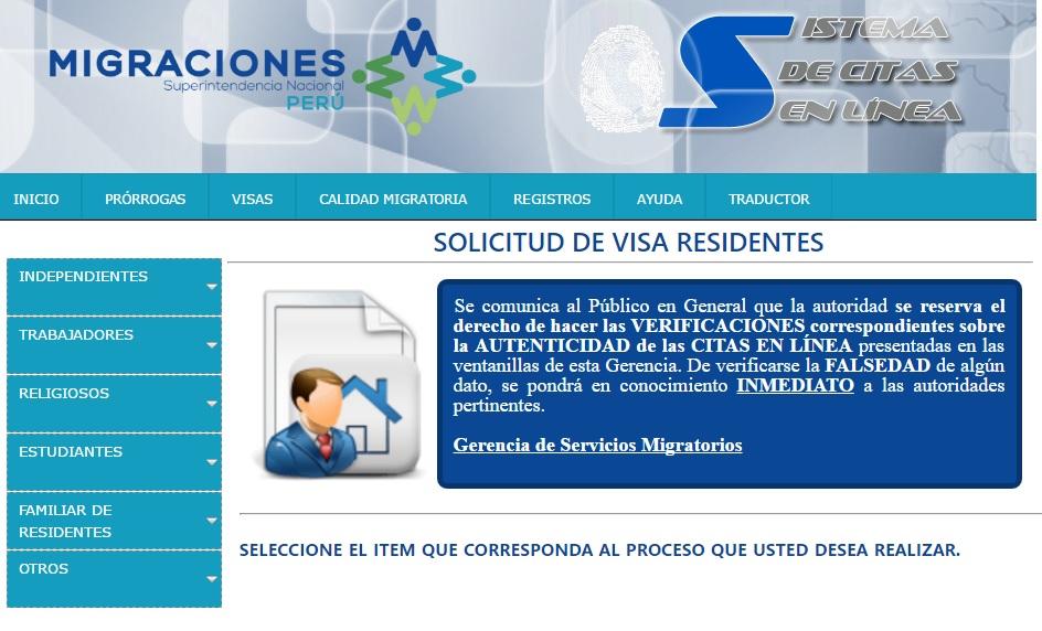 Solicitud de visa residente Perú