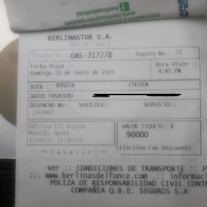 Pasaje para Cúcuta de emigrante