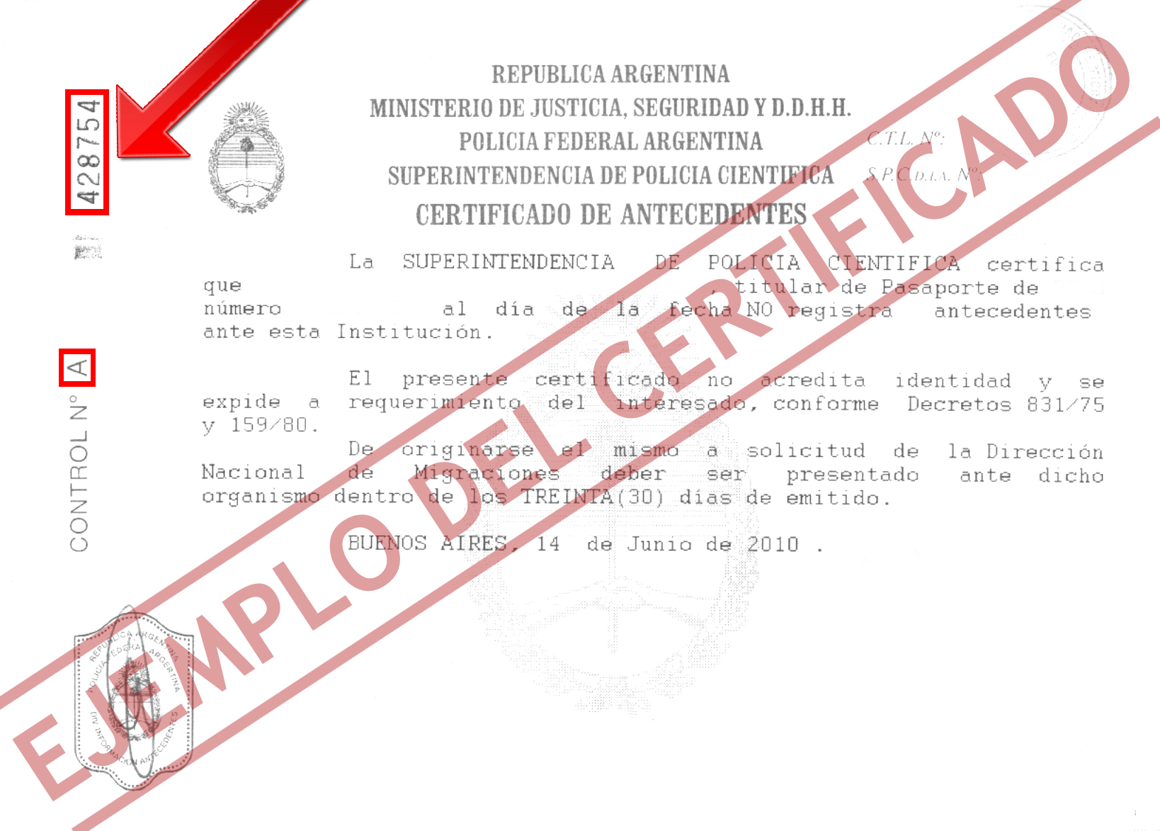 Certificado de antecedentes penales argentinos por la policia federal