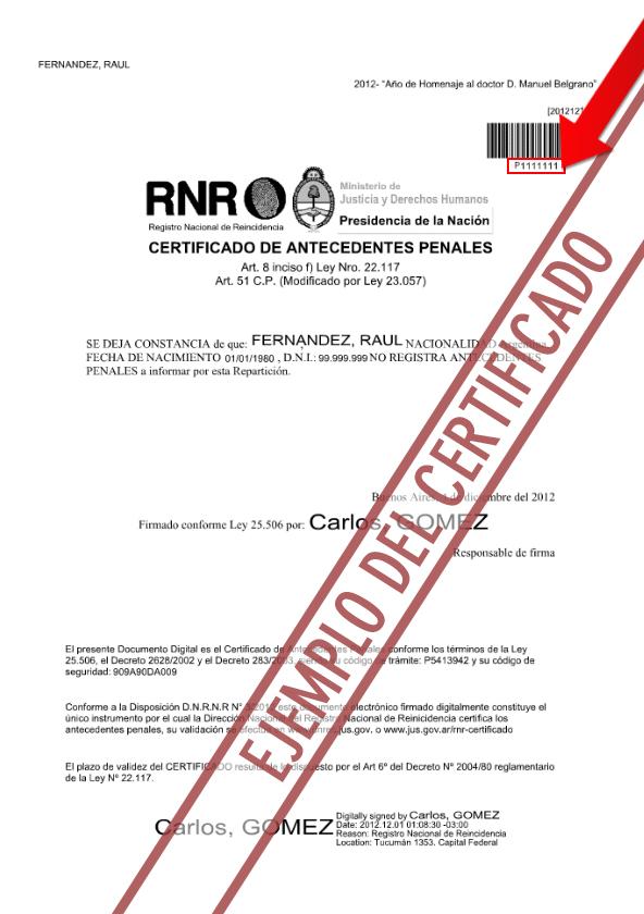 Certificado de antecedentes penales argentinos por el Registro Nacional de Reincidencia