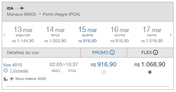 Precio pasaje Desde Manaos a Porto Alegre