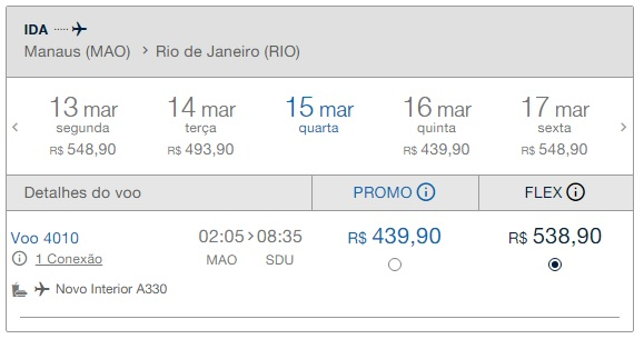 Precio pasaje Desde Manaos a Rio de Janeiro