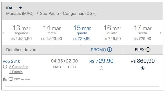 Precio pasaje Desde Manaos a Sao Paulo