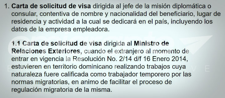 Carta de solicitud de visa en República Dominicana