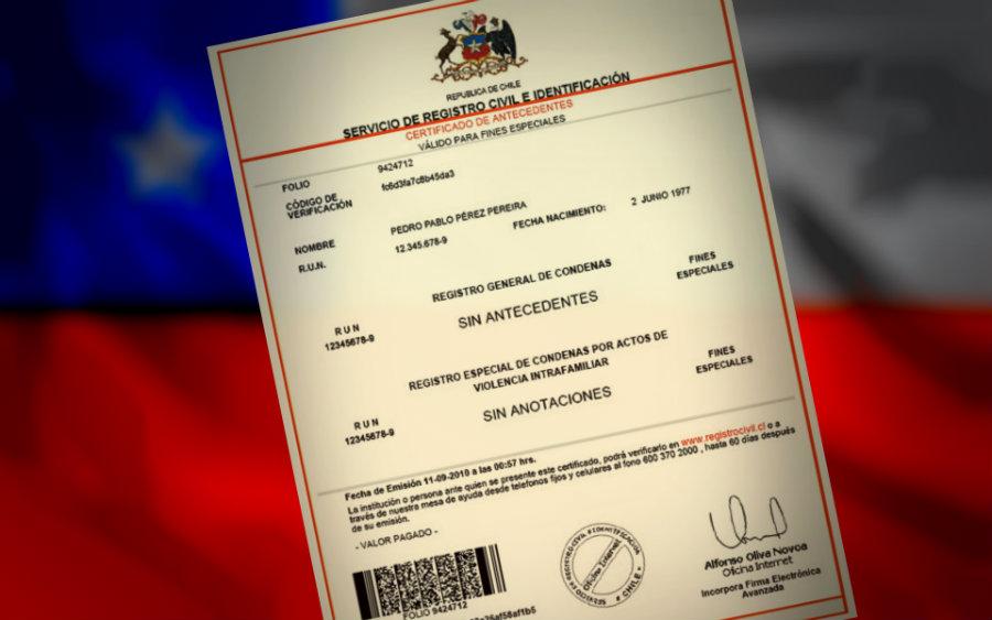 Certificado de antecedentes penales en Chile para extranjeros