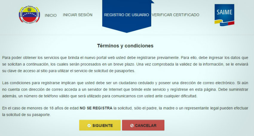 Registro de Usuario en Saime
