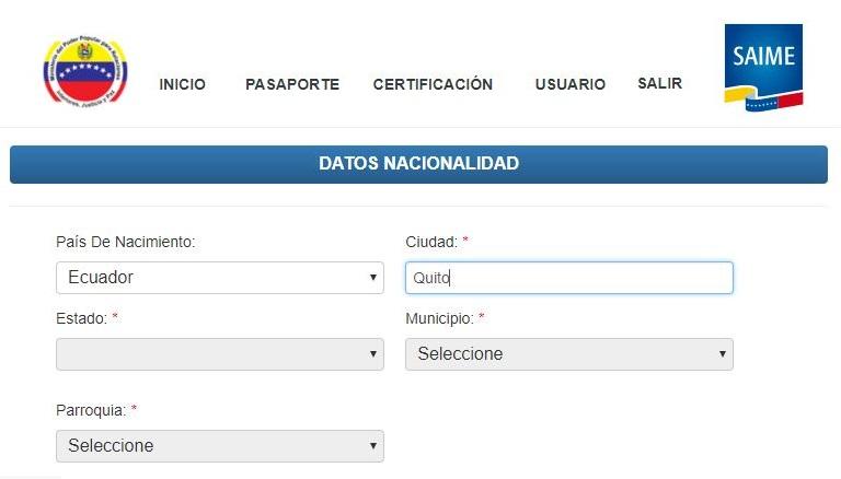 Solicitud de pasaporte venezolano Ecuador