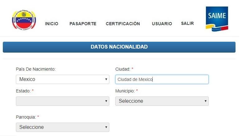 Solicitud de pasaporte venezolano en México