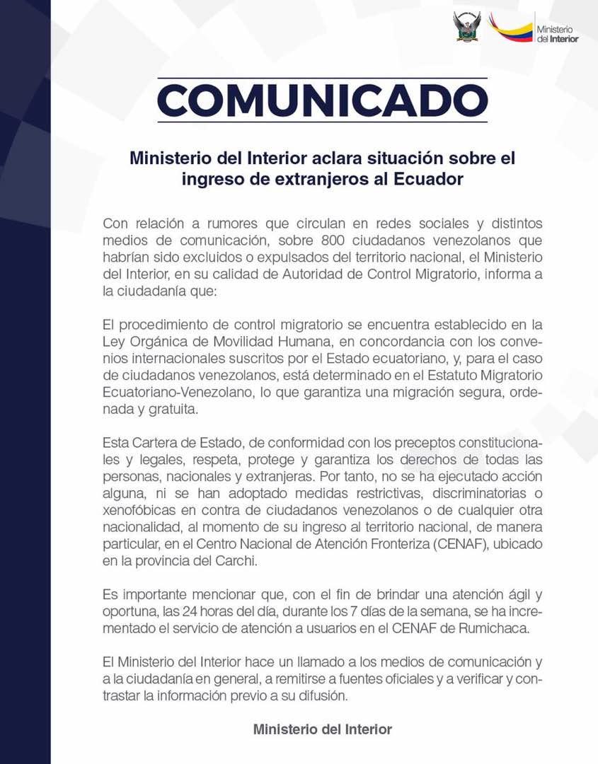 Ecuador no prohibió entrada a venezolanos
