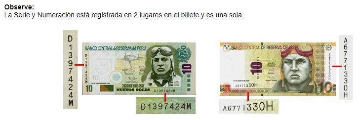 Sistema del banco central de Perú para detectar billetes falsos seriales