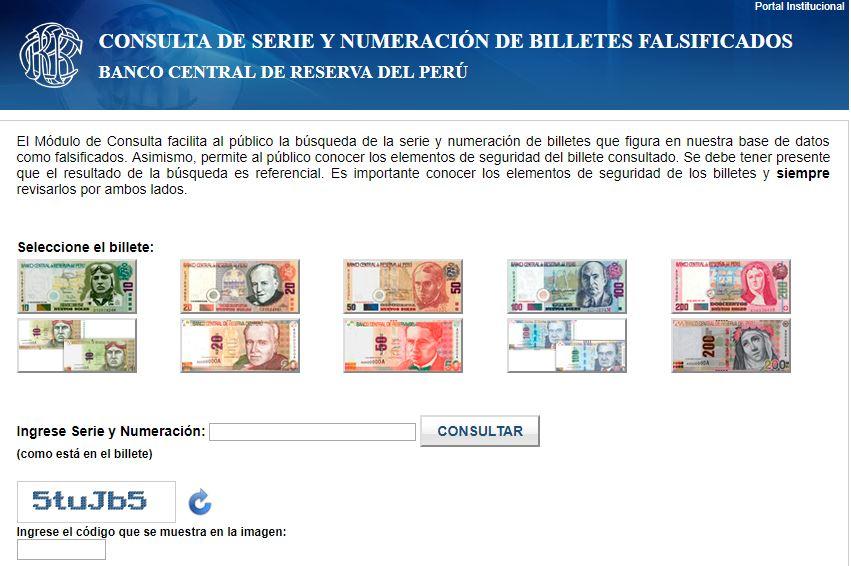 Sistema del banco central de Perú para detectar billetes falsos