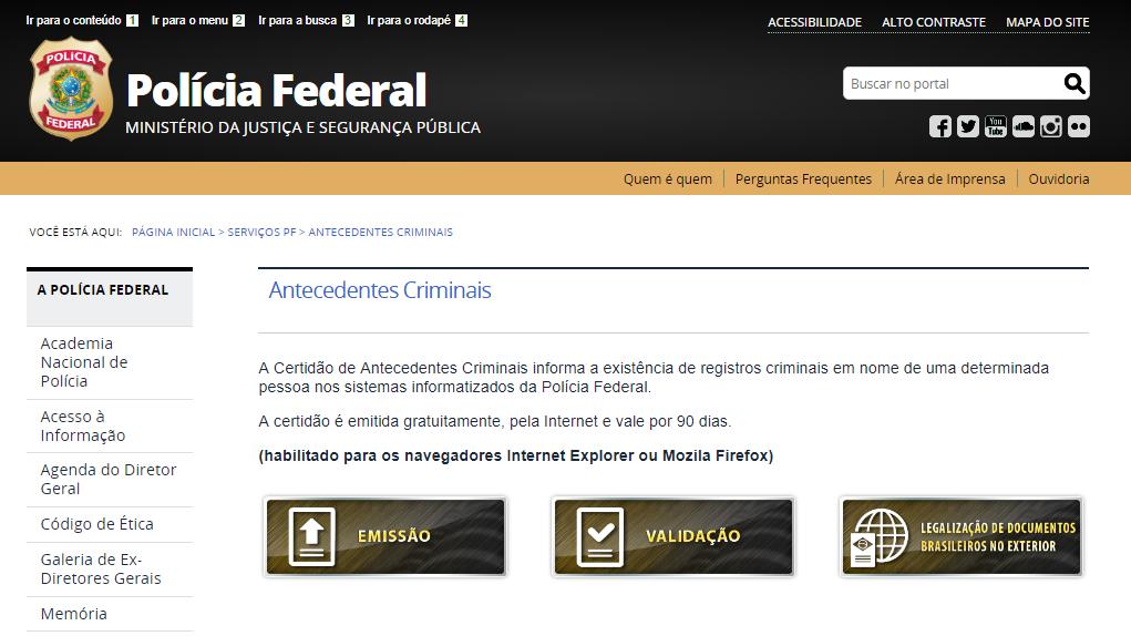Solicitud de certificado de antecedentes penales en Brasil
