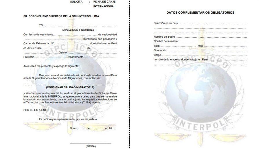 Ficha de Canje Internacional INTERPOL Perú formatp