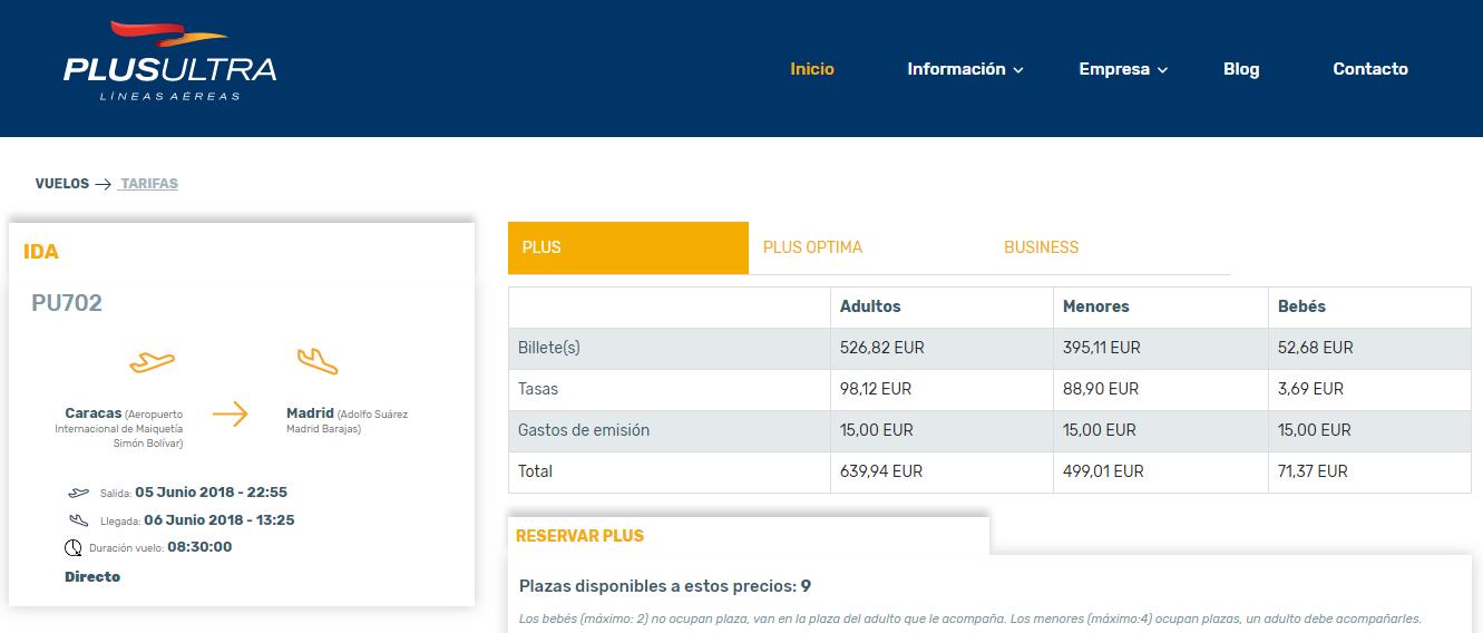 Precios de pasajes desde Caracas a Madrid directo con Plus Ultra
