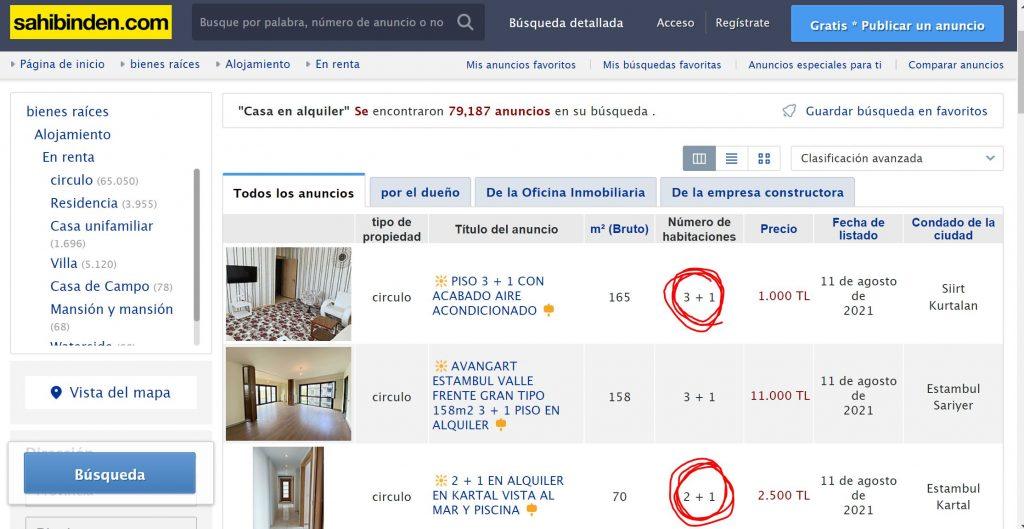 alquilar una casa o apartamento en Turquía